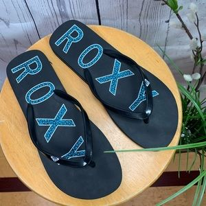 Roxy Flip Flop Sandals Black/Blue